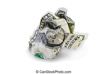One crumpled dollar isolated
