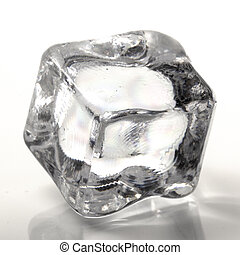 One cube of ice on a white background
