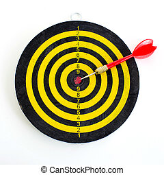 One darts in center of target isolated on white