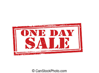 One day sale - Stamp with text one day sale inside, vector...