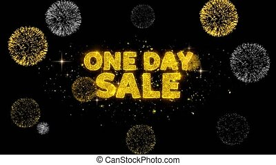 One Day Sale Text Reveal on Glitter Golden Particles...