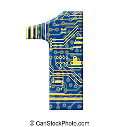 One digit from the electronic technology circuit board alphabet on a white background - 1