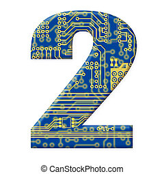 One digit from the electronic technology circuit board alphabet on a white background - 2