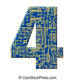One digit from the electronic technology circuit board alphabet on a white background - 4