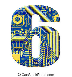 One digit from the electronic technology circuit board alphabet on a white background - 6