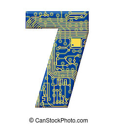 One digit from the electronic technology circuit board alphabet on a white background - 7