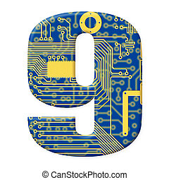 One digit from the electronic technology circuit board alphabet on a white background - 9