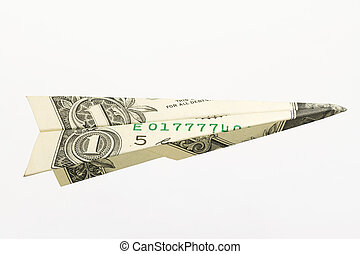 One Dollar Bank Note Airplane Isolated on White Background (with clipping path)