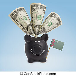 One dollar banknotes in a happy piggybank of Turkmenistan.(series)