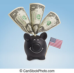 One dollar banknotes in a happy piggybank of USA.(series)