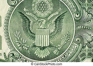A close up on a one dollar bill. Shallow depth of field.