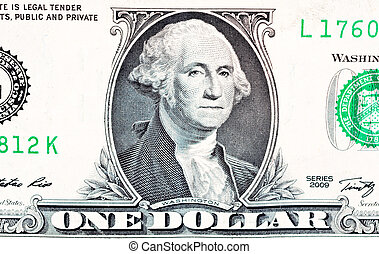 Close up to one dollar bill