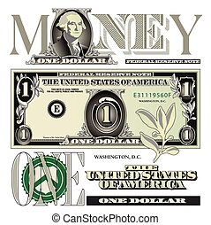 One dollar bill elements for Print or Web