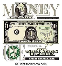 One dollar bill elements