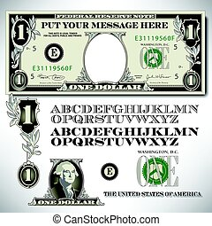 One dollar bill parts with an alphabet to make your own...