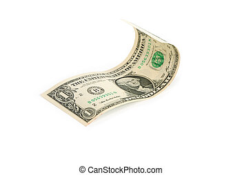 Waved one dollar bill on white background. Isolated with clipping path