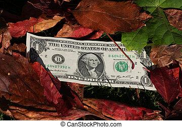 One dollar bills on a leaf background