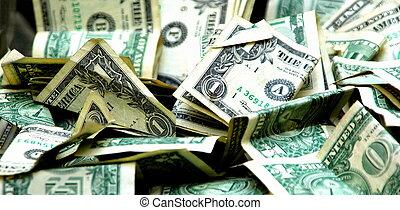 One dollar bills.