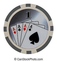 Casino Poker Chip - One Dollar Casino Poker Chip showing...
