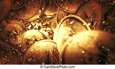One Dollar coins flight on liquid gold background