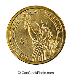 Golden one dollar coin isolated on white