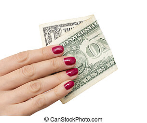 one dollar in the hand of the girl on a white background