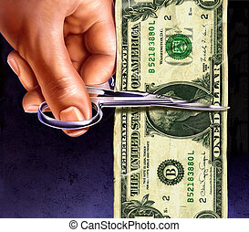 one dollar note being cut by scissors in hand