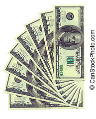 one Dollars denominations isolated on a white background