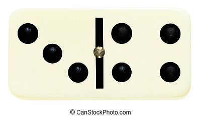 one domino tile on isolated on white - three four domino...