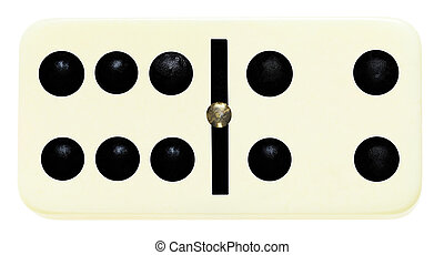 one domino tile on isolated on white - six four domino tile ...