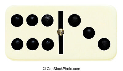 one domino tile on isolated on white - six, tree domino tile...