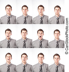 A business man is isolated on white and expressing many different moods.
