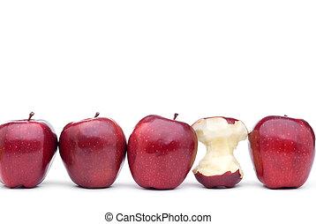One eaten red apple