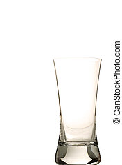 one empty glass on white background