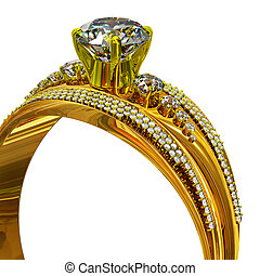 One engagement gold ring with jewelry gem.