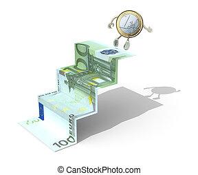 euro coin climbs above 100 euro banknote