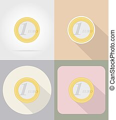 one euro coin flat icons vector illustration