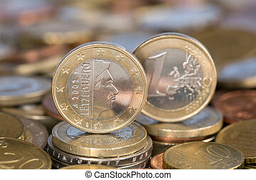 One Euro coin from Luxembourg - A one Euro coin from the EU ...