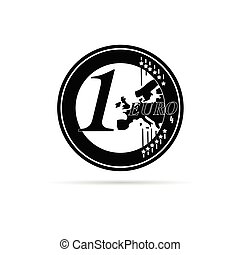 one euro coin in black vector illustration