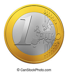 One Euro coin isolated on white