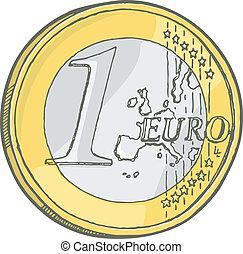 One euro coin sketch