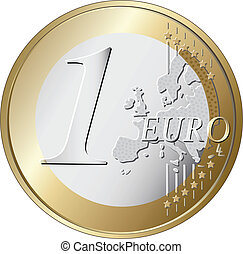 one euro coin vector illustration isolated on white background