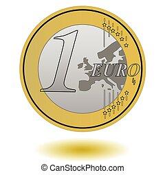 one euro coin vector illustration