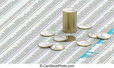 One Euro coins on spreadsheet