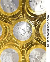 One euro coins - three dimensional euro coins