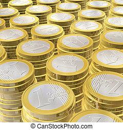 One euro coins - three dimensional euro coins - illustration