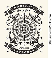 (one, explorateur, color), vendange, typographie, maritime