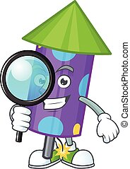 One eye dot fireworks rocket Detective cartoon character style