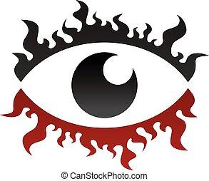 one eye look watch fire burn theme