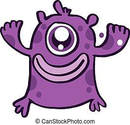 One eye monster cartoon design